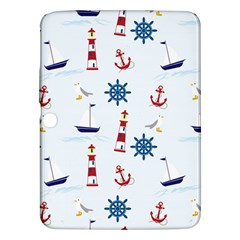 Seaside Nautical Themed Pattern Seamless Wallpaper Background Samsung Galaxy Tab 3 (10.1 ) P5200 Hardshell Case