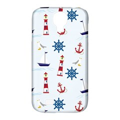 Seaside Nautical Themed Pattern Seamless Wallpaper Background Samsung Galaxy S4 Classic Hardshell Case (PC+Silicone)