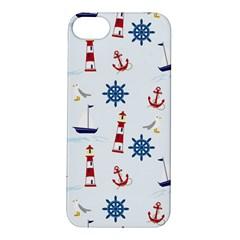 Seaside Nautical Themed Pattern Seamless Wallpaper Background Apple iPhone 5S/ SE Hardshell Case