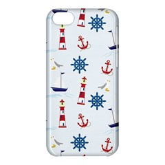 Seaside Nautical Themed Pattern Seamless Wallpaper Background Apple iPhone 5C Hardshell Case
