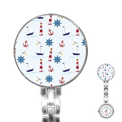 Seaside Nautical Themed Pattern Seamless Wallpaper Background Stainless Steel Nurses Watch