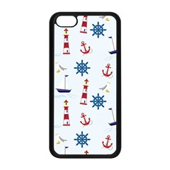 Seaside Nautical Themed Pattern Seamless Wallpaper Background Apple Iphone 5c Seamless Case (black)