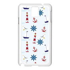 Seaside Nautical Themed Pattern Seamless Wallpaper Background Samsung Galaxy Note 3 N9005 Case (White)