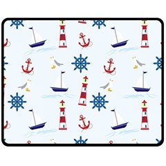 Seaside Nautical Themed Pattern Seamless Wallpaper Background Double Sided Fleece Blanket (Medium)