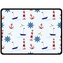 Seaside Nautical Themed Pattern Seamless Wallpaper Background Double Sided Fleece Blanket (Large)