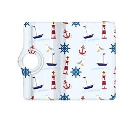 Seaside Nautical Themed Pattern Seamless Wallpaper Background Kindle Fire HDX 8.9  Flip 360 Case