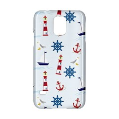 Seaside Nautical Themed Pattern Seamless Wallpaper Background Samsung Galaxy S5 Hardshell Case