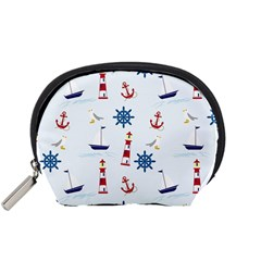 Seaside Nautical Themed Pattern Seamless Wallpaper Background Accessory Pouches (Small)