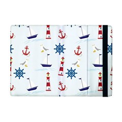 Seaside Nautical Themed Pattern Seamless Wallpaper Background iPad Mini 2 Flip Cases