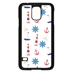 Seaside Nautical Themed Pattern Seamless Wallpaper Background Samsung Galaxy S5 Case (Black)