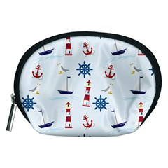 Seaside Nautical Themed Pattern Seamless Wallpaper Background Accessory Pouches (Medium)