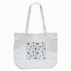 Seaside Nautical Themed Pattern Seamless Wallpaper Background Tote Bag (White)