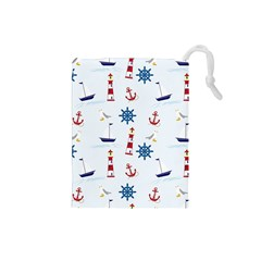 Seaside Nautical Themed Pattern Seamless Wallpaper Background Drawstring Pouches (Small)