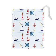 Seaside Nautical Themed Pattern Seamless Wallpaper Background Drawstring Pouches (large)