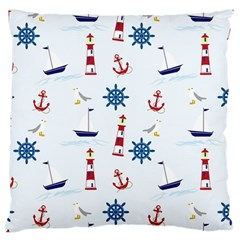 Seaside Nautical Themed Pattern Seamless Wallpaper Background Large Flano Cushion Case (One Side)
