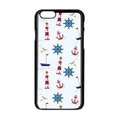 Seaside Nautical Themed Pattern Seamless Wallpaper Background Apple iPhone 6/6S Black Enamel Case