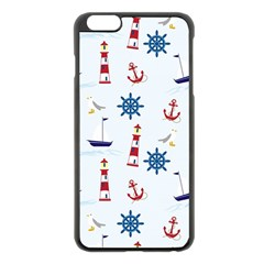 Seaside Nautical Themed Pattern Seamless Wallpaper Background Apple iPhone 6 Plus/6S Plus Black Enamel Case