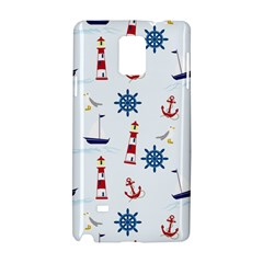 Seaside Nautical Themed Pattern Seamless Wallpaper Background Samsung Galaxy Note 4 Hardshell Case