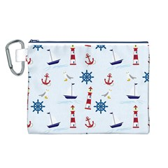 Seaside Nautical Themed Pattern Seamless Wallpaper Background Canvas Cosmetic Bag (l)