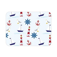 Seaside Nautical Themed Pattern Seamless Wallpaper Background Double Sided Flano Blanket (Mini)