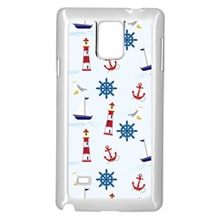 Seaside Nautical Themed Pattern Seamless Wallpaper Background Samsung Galaxy Note 4 Case (white)