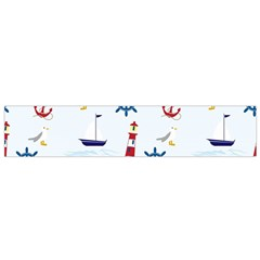 Seaside Nautical Themed Pattern Seamless Wallpaper Background Flano Scarf (Small)