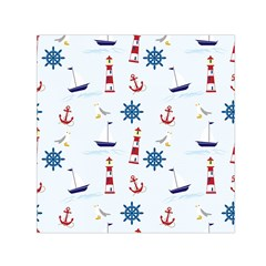 Seaside Nautical Themed Pattern Seamless Wallpaper Background Small Satin Scarf (Square)