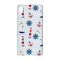 Seaside Nautical Themed Pattern Seamless Wallpaper Background Sony Xperia Z3+