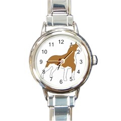 American Staffordshire Terrier  Silo Color Round Italian Charm Watch
