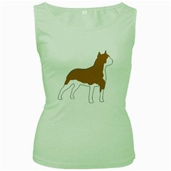 American Staffordshire Terrier  Silo Color Women s Green Tank Top