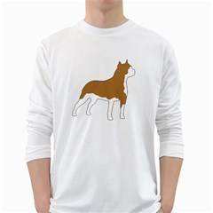 American Staffordshire Terrier  Silo Color White Long Sleeve T-Shirts