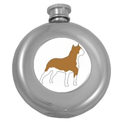 American Staffordshire Terrier  Silo Color Round Hip Flask (5 oz)