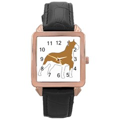 American Staffordshire Terrier  Silo Color Rose Gold Leather Watch