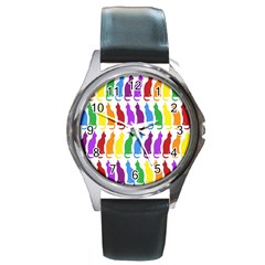 Rainbow Colorful Cats Wallpaper Pattern Round Metal Watch