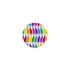 Rainbow Colorful Cats Wallpaper Pattern 1  Mini Buttons