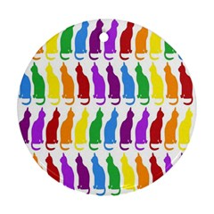 Rainbow Colorful Cats Wallpaper Pattern Ornament (Round)