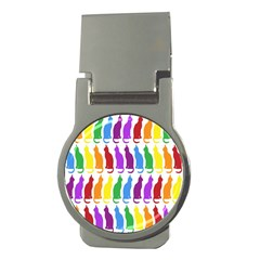 Rainbow Colorful Cats Wallpaper Pattern Money Clips (Round)