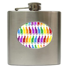 Rainbow Colorful Cats Wallpaper Pattern Hip Flask (6 Oz)