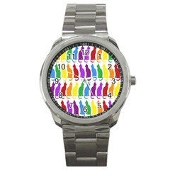 Rainbow Colorful Cats Wallpaper Pattern Sport Metal Watch