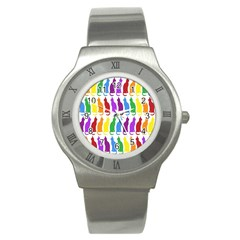 Rainbow Colorful Cats Wallpaper Pattern Stainless Steel Watch