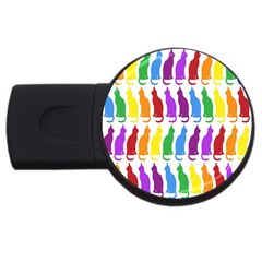 Rainbow Colorful Cats Wallpaper Pattern USB Flash Drive Round (4 GB)