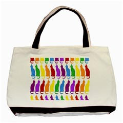 Rainbow Colorful Cats Wallpaper Pattern Basic Tote Bag