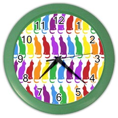 Rainbow Colorful Cats Wallpaper Pattern Color Wall Clocks