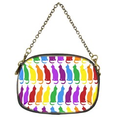 Rainbow Colorful Cats Wallpaper Pattern Chain Purses (two Sides)