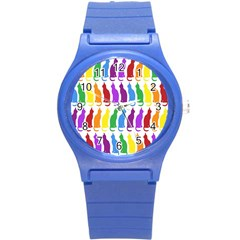 Rainbow Colorful Cats Wallpaper Pattern Round Plastic Sport Watch (S)