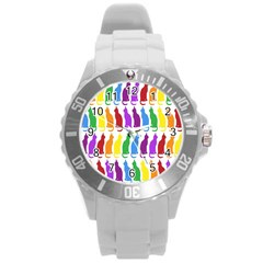 Rainbow Colorful Cats Wallpaper Pattern Round Plastic Sport Watch (L)
