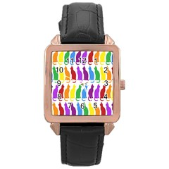 Rainbow Colorful Cats Wallpaper Pattern Rose Gold Leather Watch