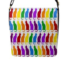 Rainbow Colorful Cats Wallpaper Pattern Flap Messenger Bag (L)
