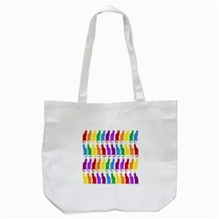 Rainbow Colorful Cats Wallpaper Pattern Tote Bag (White)