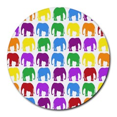Rainbow Colors Bright Colorful Elephants Wallpaper Background Round Mousepads